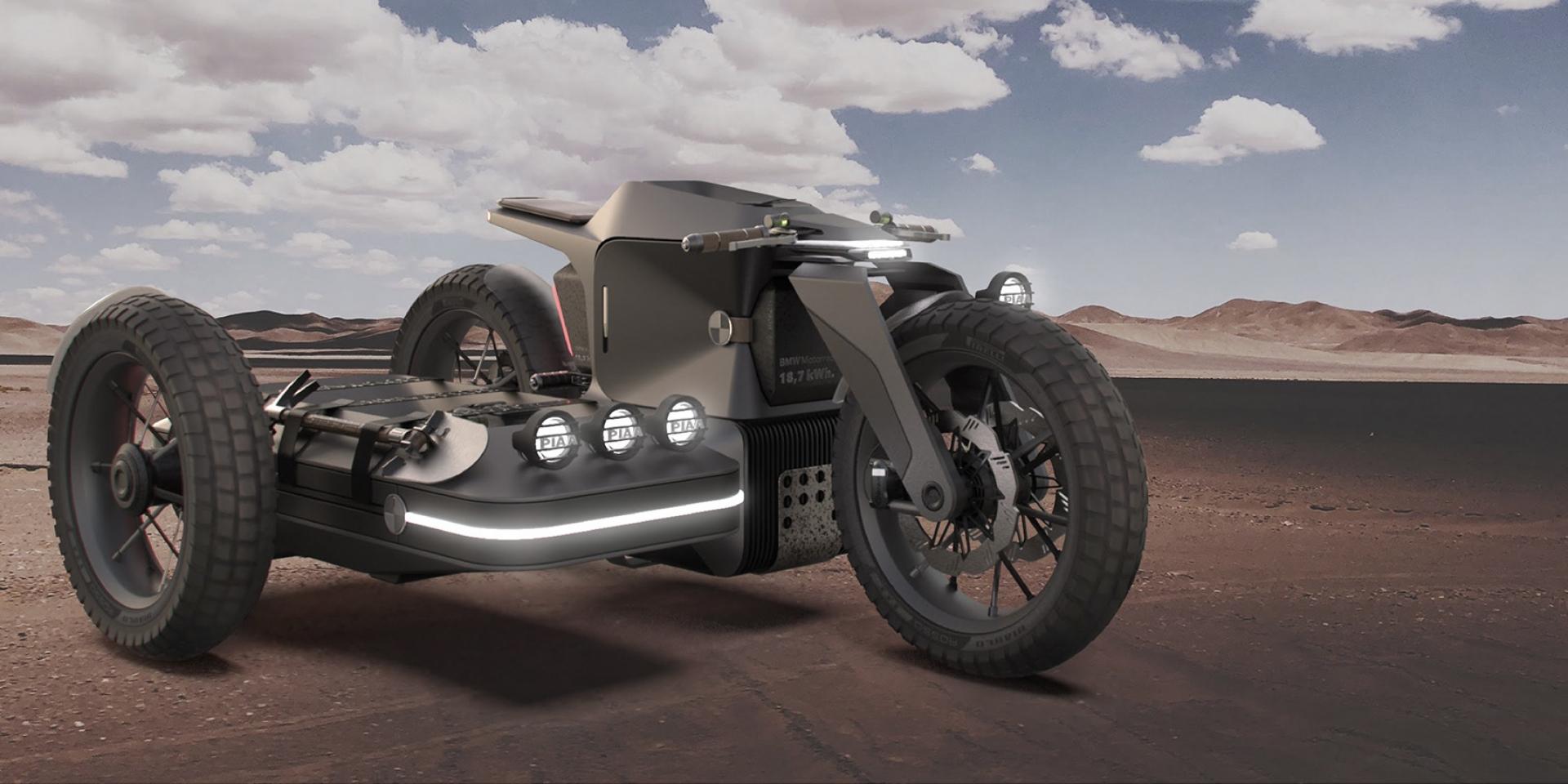 這款電動三輪車很可以!融合邊車想法的BMW概念車!