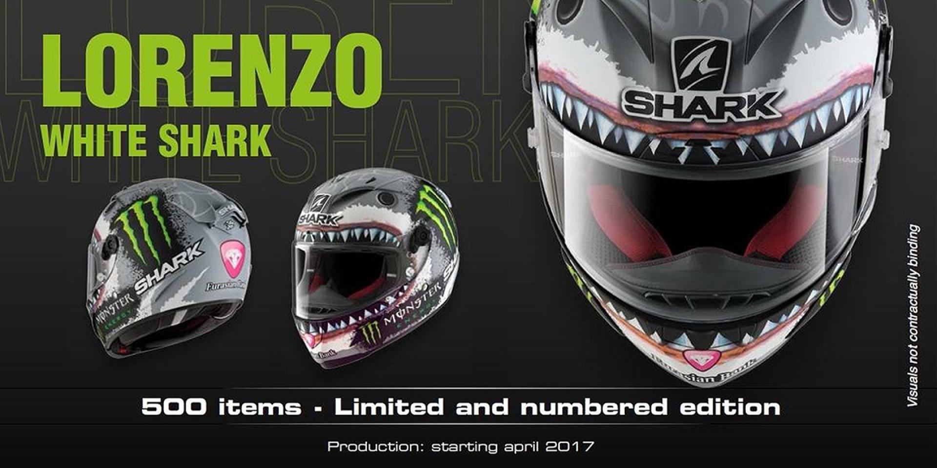 "限量發售。Lorenzo 彩繪帽SHARK Race-R Pro ""White Shark"""