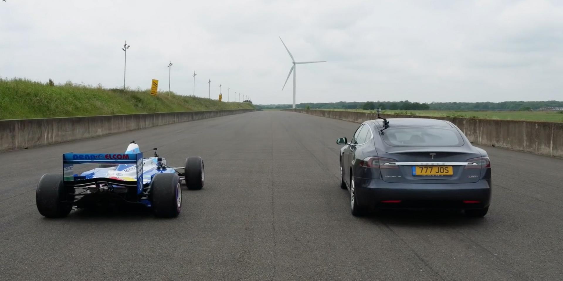 Tesla、F1哪個快?直線加速見真章