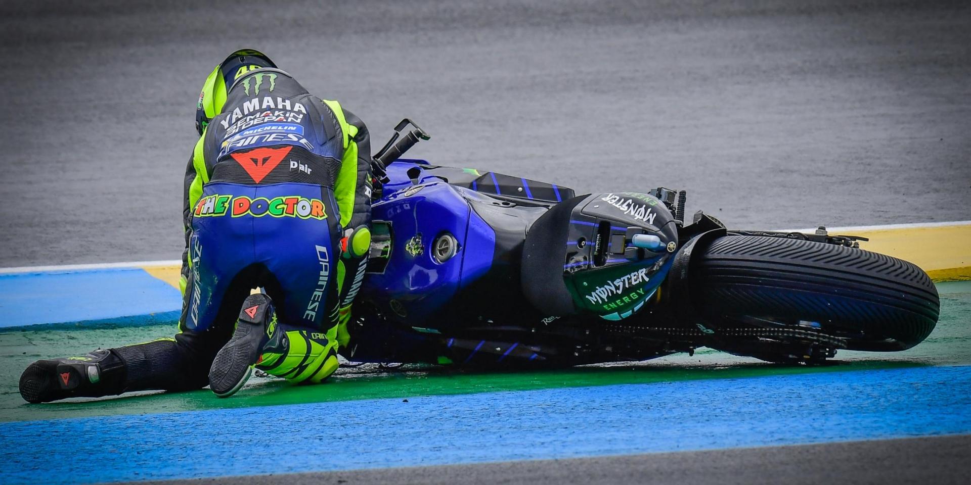 夢碎法國!首圈就下課,Valentino Rossi:像這樣子轉倒退賽是最糟糕的事情!