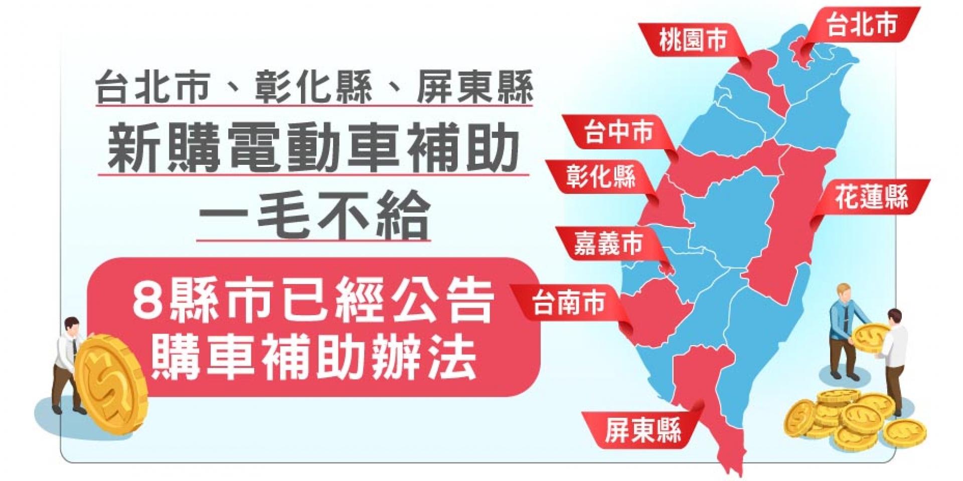 電動車迷崩潰  台北市、彰化、屏東「新購補助」一毛不給 ! 電動車汰舊換新補助大降8成5