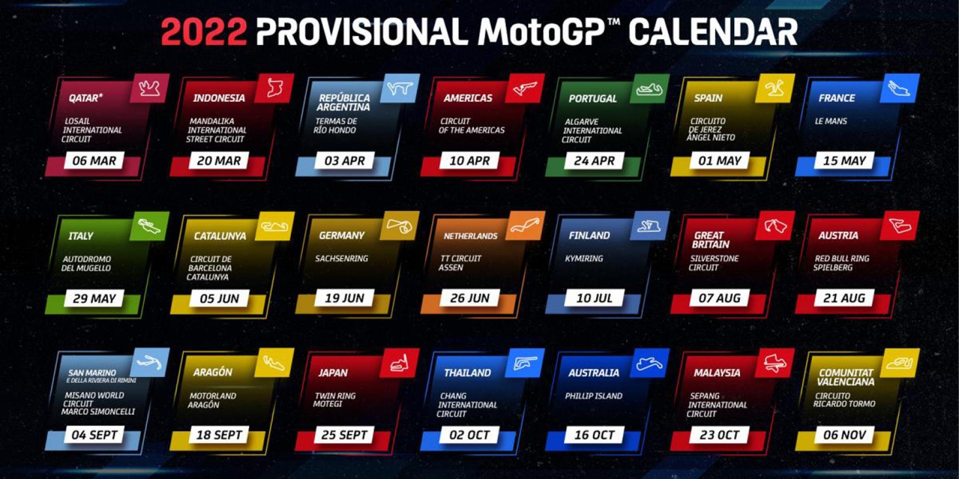 印尼、芬蘭站加入,MotoGP 2022賽程曝光!