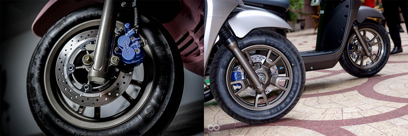 煞車方面前後碟盤採用和Gogoro 2 Delight同樣規格,卡鉗方面則是PGO自行生產的部品
