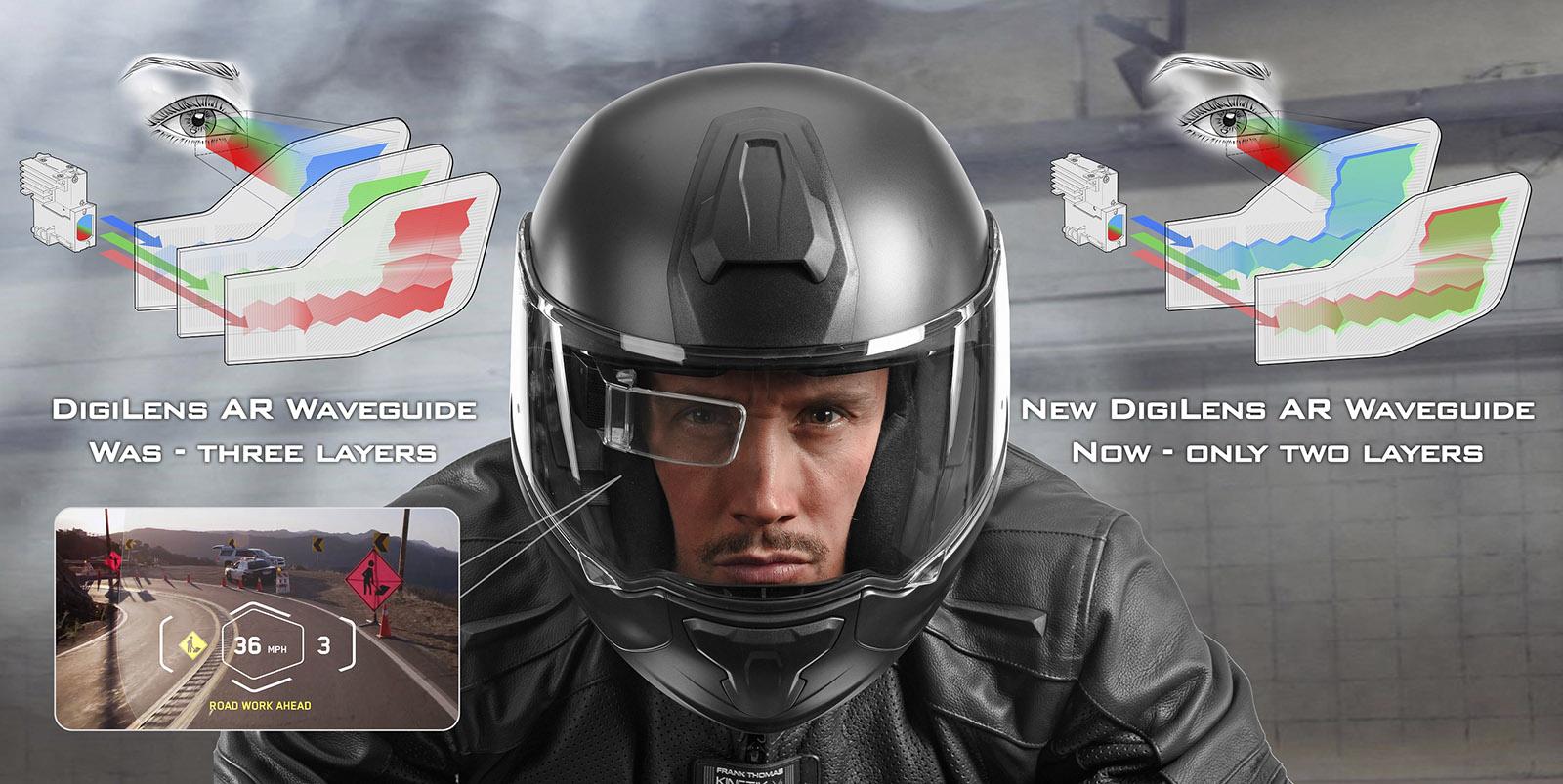 DigiLens可將顯影鏡面減為兩層,大幅減輕產品重量與體積